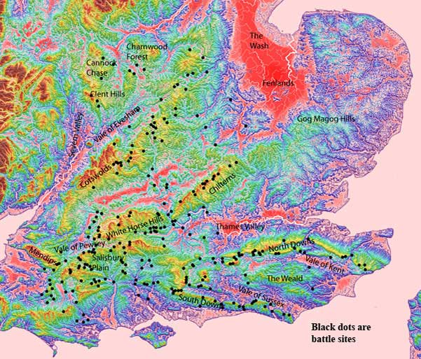Battle sites (black dots) and geographical names for the study area overlying elevation data
