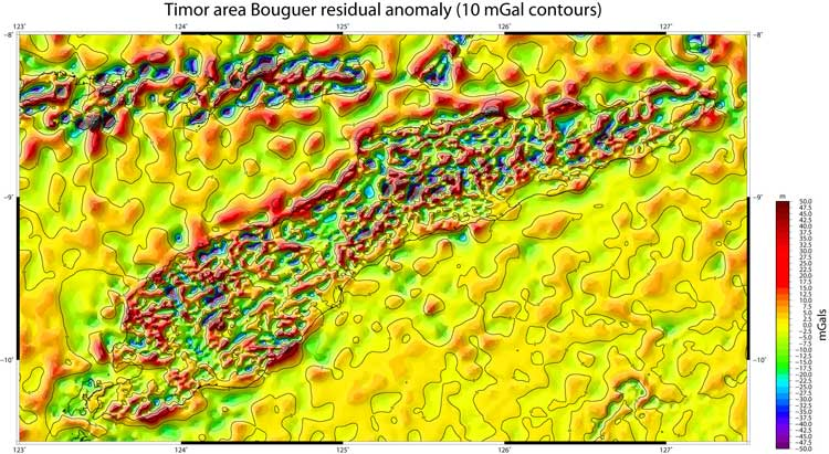 Timor Island Bouguer residual anomlay map