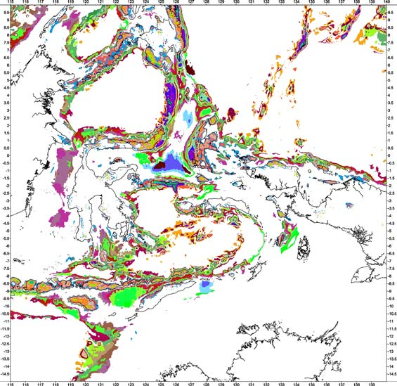 Bouguer gravity anomaly classification - Combined crustal types existing between oceanic and continental crustal areas