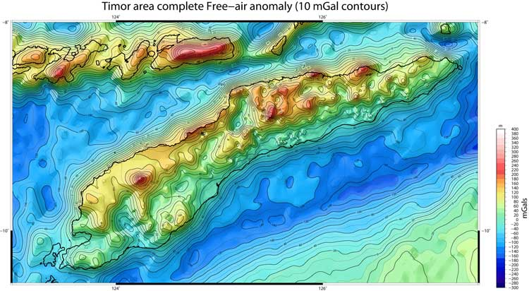 Timor Island Free-air gravity anomaly map